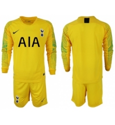 Tottenham Hotspur Blank Yellow Goalkeeper Long Sleeves Soccer Club Jersey