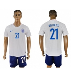 England #21 Welbeck Home Soccer Country Jersey