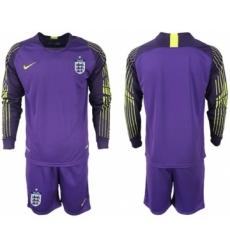 England Blank Purple Goalkeeper Long Sleeves Soccer Country Jersey
