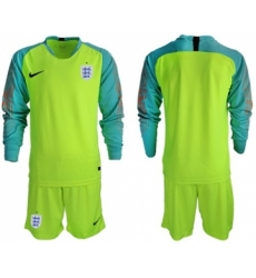 England Blank Shiny Green Goalkeeper Long Sleeves Soccer Country Jersey
