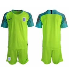 England Blank Shiny Green Goalkeeper Soccer Country Jersey