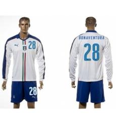 Italy #28 Bonaventura White Away Long Sleeves Soccer Country Jersey