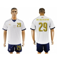 Italy #29 De Silvestri White Away Long Sleeves Soccer Country Jersey