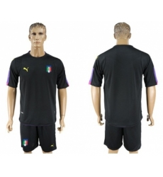 Italy Blank Black Goalkeeper Soccer Country Jersey