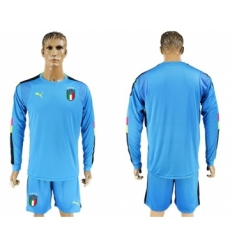 Italy Blank Blue Long Sleeves Goalkeeper Soccer Country Jersey