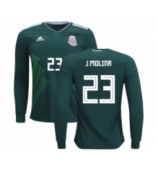 Mexico #23 J.Molina Home Long Sleeves Soccer Country Jersey