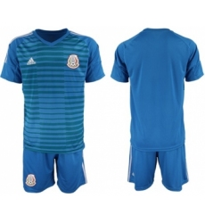 Mexico Blank Blue Goalkeeper Soccer Country Jersey