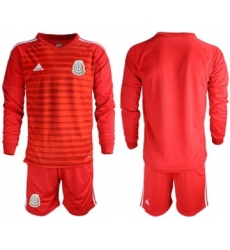 Mexico Blank Red Long Sleeves Goalkeeper Soccer Country Jersey