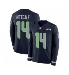 Men's Seattle Seahawks #14 D.K. Metcalf Limited Navy Blue Therma Long Sleeve Football Jersey