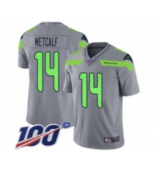 Men's Seattle Seahawks #14 D.K. Metcalf Limited Silver Inverted Legend 100th Season Football Jersey