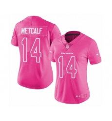 Women's Seattle Seahawks #14 D.K. Metcalf Limited Pink Rush Fashion Football Jersey