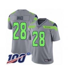 Men's Seattle Seahawks #28 Ugo Amadi Limited Silver Inverted Legend 100th Season Football Jersey