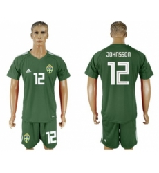 Sweden #12 Johnsson Green Goalkeeper Soccer Country Jersey