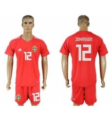 Sweden #12 Johnsson Red Goalkeeper Soccer Country Jersey