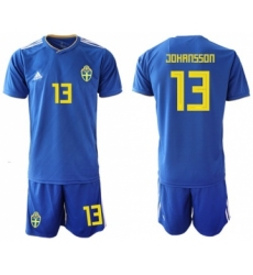 Sweden #13 Johansson Away Soccer Country Jersey