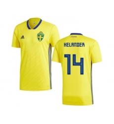 Sweden #14 Helander Home Soccer Country Jersey