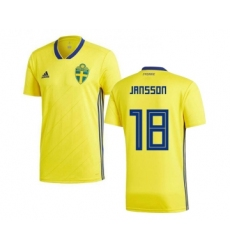 Sweden #18 Jansson Home Soccer Country Jersey