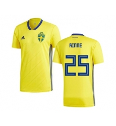Sweden #25 Rinne Home Soccer Country Jersey