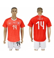 Switzerland #14 Zuber Red Home Soccer Country Jersey
