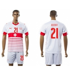 Switzerland #21 Burki Away Soccer Country Jersey