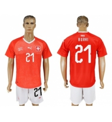 Switzerland #21 Burki Red Home Soccer Country Jersey