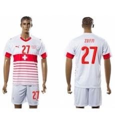Switzerland #27 Zuffi Away Soccer Country Jersey