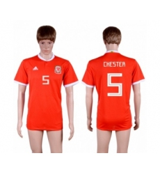 Wales #5 Chester Red Home Soccer Club Jersey