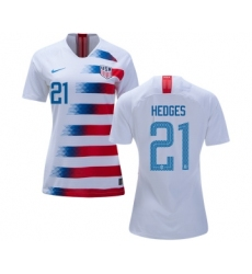 Women's USA #21 Hedges Home Soccer Country Jersey