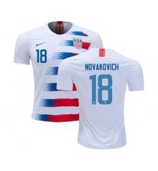 USA #18 Novakovich Home Kid Soccer Country Jersey