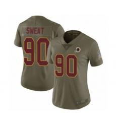 Women's Washington Redskins #90 Montez Sweat Limited Olive 2017 Salute to Service Football Jersey