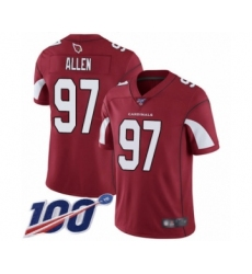 Men's Arizona Cardinals #97 Zach Allen Red Team Color Vapor Untouchable Limited Player 100th Season Football Jersey