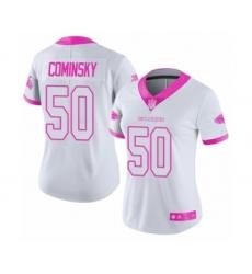 Women's Atlanta Falcons #50 John Cominsky Limited White Pink Rush Fashion Football Jersey