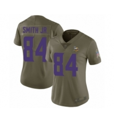 Women's Minnesota Vikings #84 Irv Smith Jr. Limited Olive 2017 Salute to Service Football Jersey