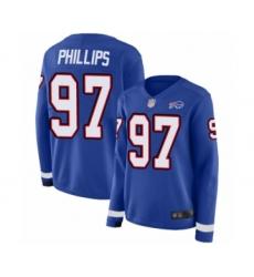 Women's Buffalo Bills #97 Jordan Phillips Limited Royal Blue Therma Long Sleeve Football Jersey