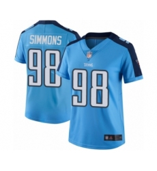 Women's Tennessee Titans #98 Jeffery Simmons Limited Light Blue Rush Vapor Untouchable Football Jersey