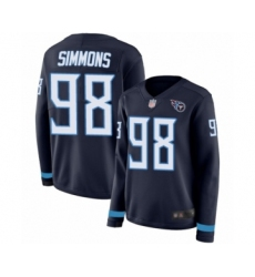 Women's Tennessee Titans #98 Jeffery Simmons Limited Navy Blue Therma Long Sleeve Football Jersey