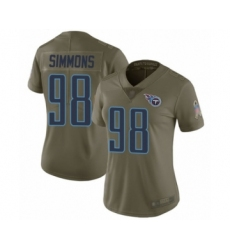 Women's Tennessee Titans #98 Jeffery Simmons Limited Olive 2017 Salute to Service Football Jersey