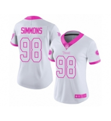 Women's Tennessee Titans #98 Jeffery Simmons Limited White Pink Rush Fashion Football Jersey