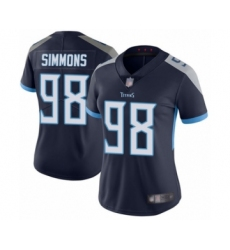 Women's Tennessee Titans #98 Jeffery Simmons Navy Blue Team Color Vapor Untouchable Limited Player Football Jersey