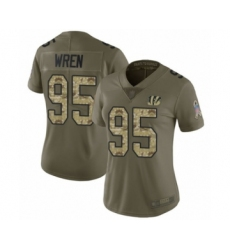 Women's Cincinnati Bengals #95 Renell Wren Limited Olive Camo 2017 Salute to Service Football Jersey