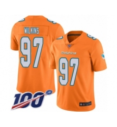 Men's Miami Dolphins #97 Christian Wilkins Limited Orange Rush Vapor Untouchable 100th Season Football Jersey