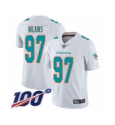 Men's Miami Dolphins #97 Christian Wilkins White Vapor Untouchable Limited Player 100th Season Football Jersey