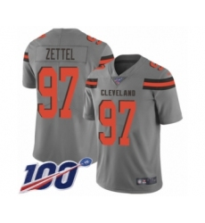 Men's Cleveland Browns #97 Anthony Zettel Limited Gray Inverted Legend 100th Season Football Jersey