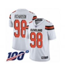 Men's Cleveland Browns #98 Sheldon Richardson White Vapor Untouchable Limited Player 100th Season Football Jersey