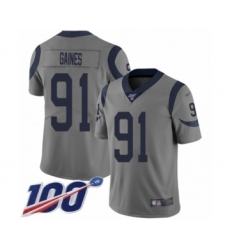 Men's Los Angeles Rams #91 Greg Gaines Limited Gray Inverted Legend 100th Season Football Jersey