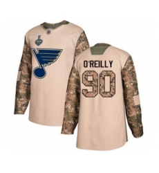 Men's St. Louis Blues #90 Ryan O'Reilly Authentic Camo Veterans Day Practice 2019 Stanley Cup Final Bound Hockey Jersey