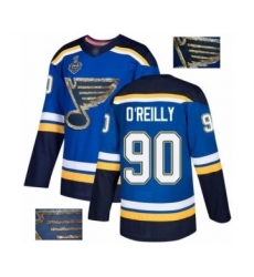 Men's St. Louis Blues #90 Ryan O'Reilly Authentic Royal Blue Fashion Gold 2019 Stanley Cup Final Bound Hockey Jersey