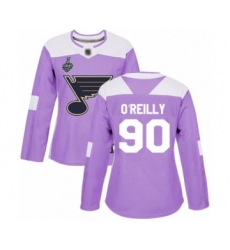 Women's St. Louis Blues #90 Ryan O'Reilly Authentic Purple Fights Cancer Practice 2019 Stanley Cup Final Bound Hockey Jersey