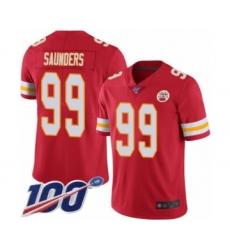 Men's Kansas City Chiefs #99 Khalen Saunders Red Team Color Vapor Untouchable Limited Player 100th Season Football Jersey