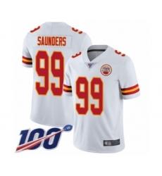 Men's Kansas City Chiefs #99 Khalen Saunders White Vapor Untouchable Limited Player 100th Season Football Jersey